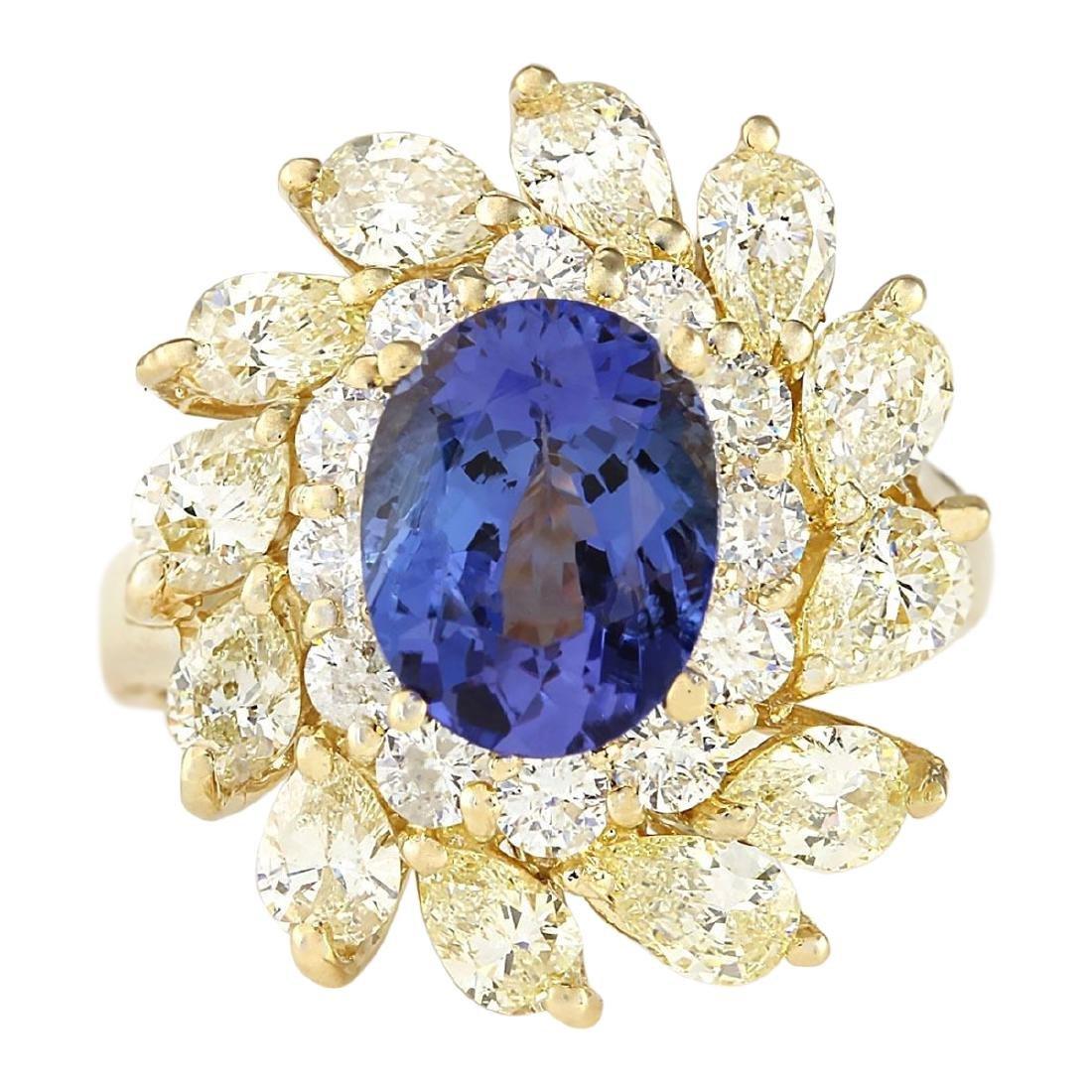 5.73 CTW Natural Tanzanite And Diamond Ring In 18K