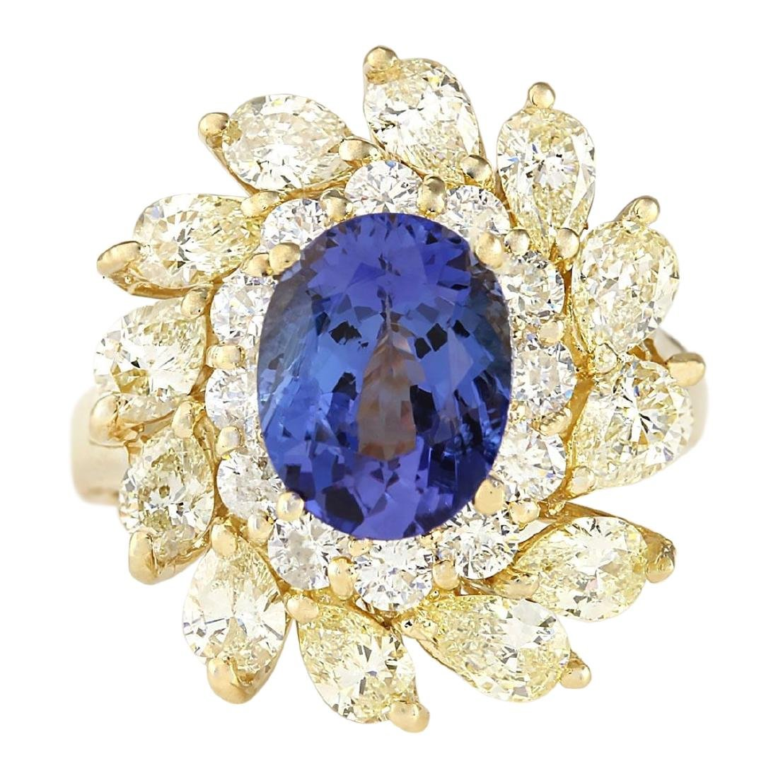 5.73 CTW Natural Tanzanite And Diamond Ring In 18K