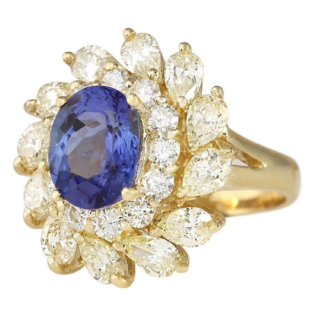 5.73 CTW Natural Tanzanite And Diamond Ring In 18K - 2