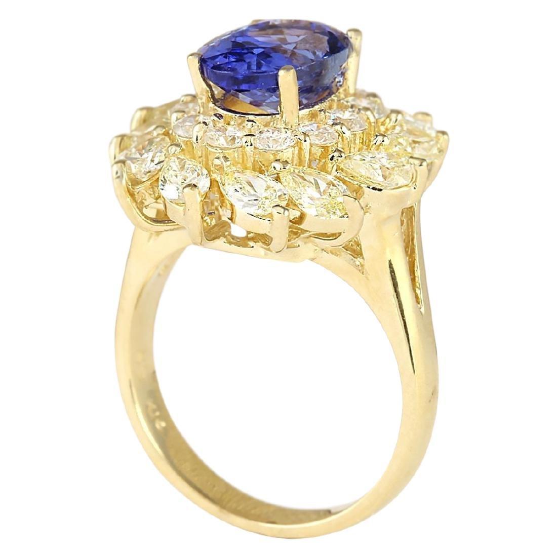5.73 CTW Natural Tanzanite And Diamond Ring In 18K - 3