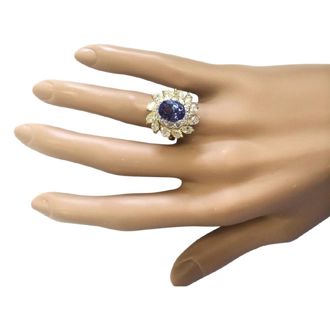 5.73 CTW Natural Tanzanite And Diamond Ring In 18K - 4