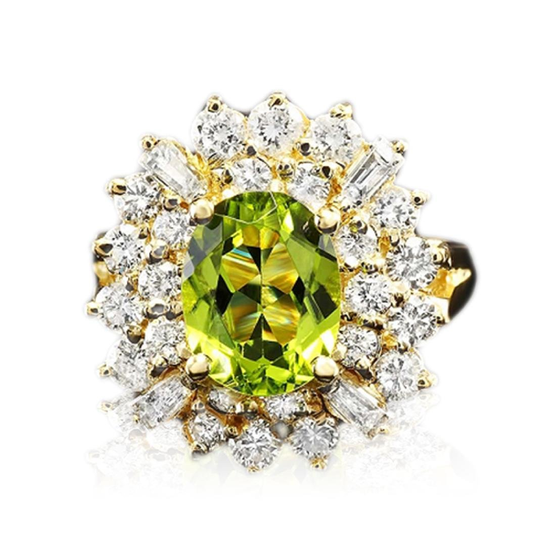 3.30 Carat Natural Peridot 18K Solid Yellow Gold