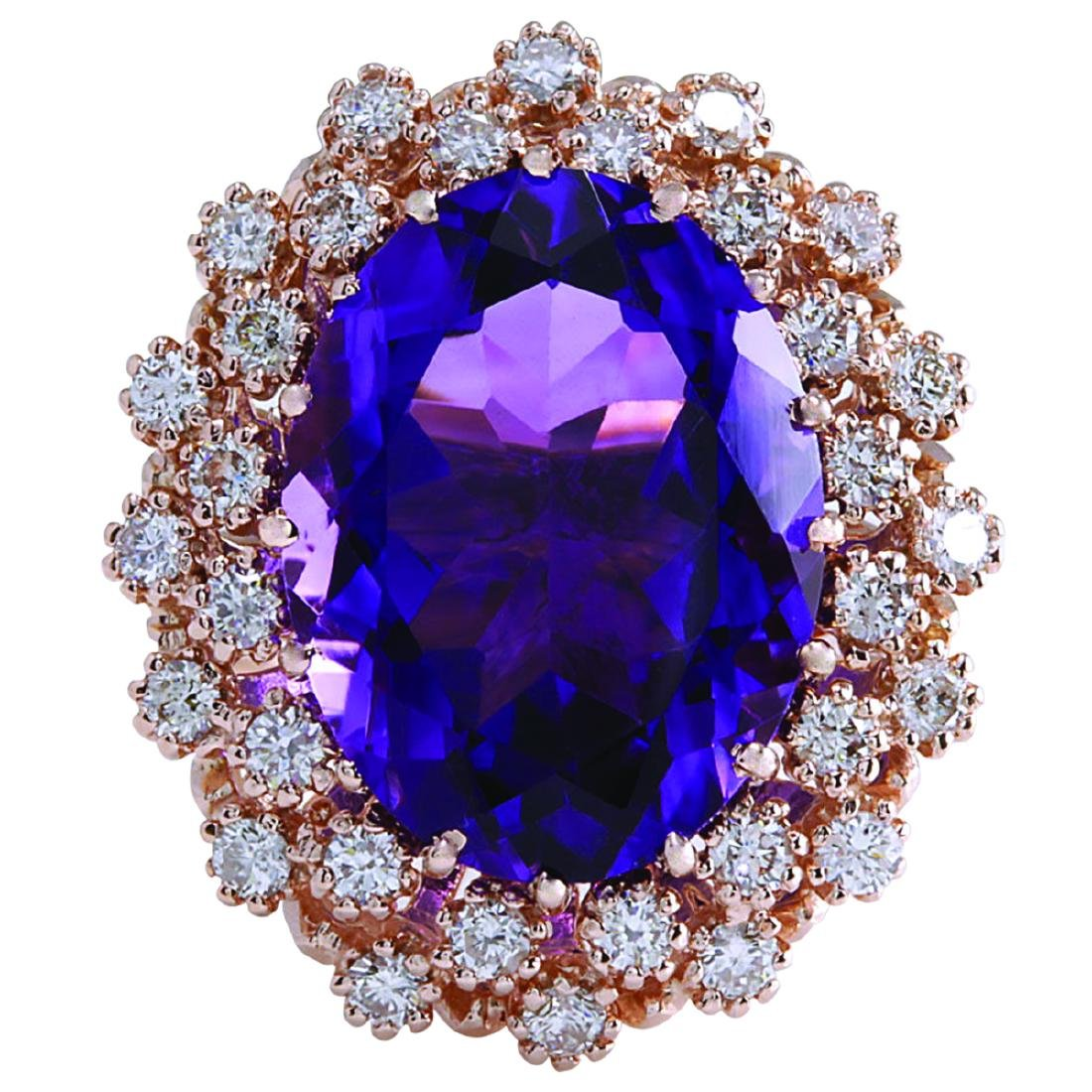9.19CTW Natural Amethyst And Diamond Ring In 18K Solid