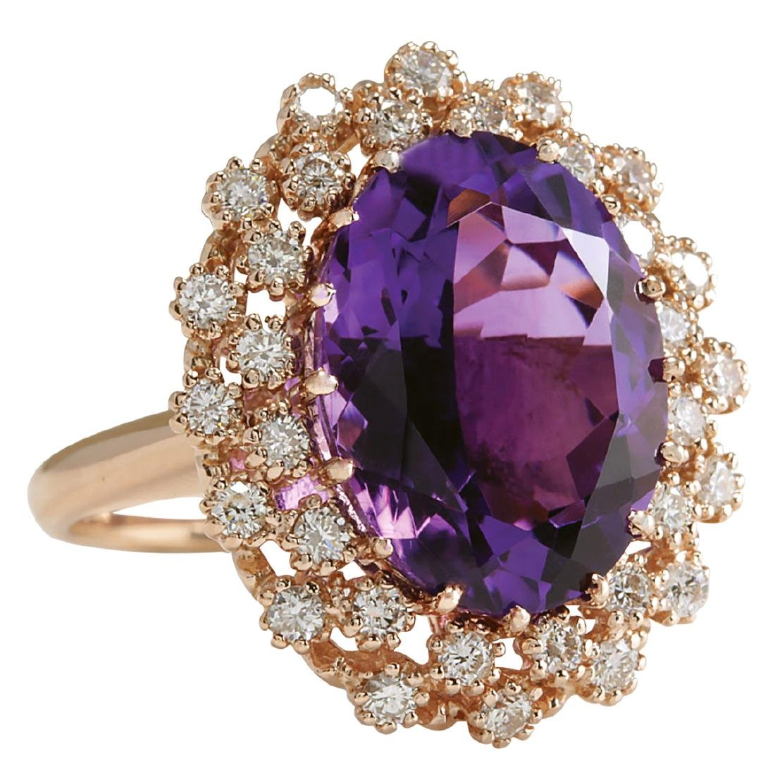 9.19CTW Natural Amethyst And Diamond Ring In 18K Solid - 2