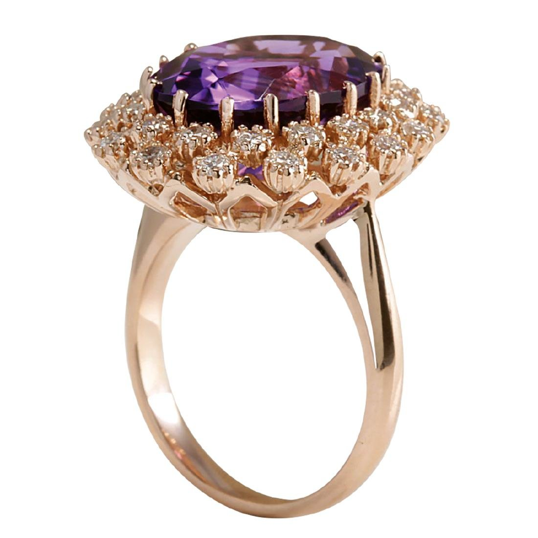 9.19CTW Natural Amethyst And Diamond Ring In 18K Solid - 3
