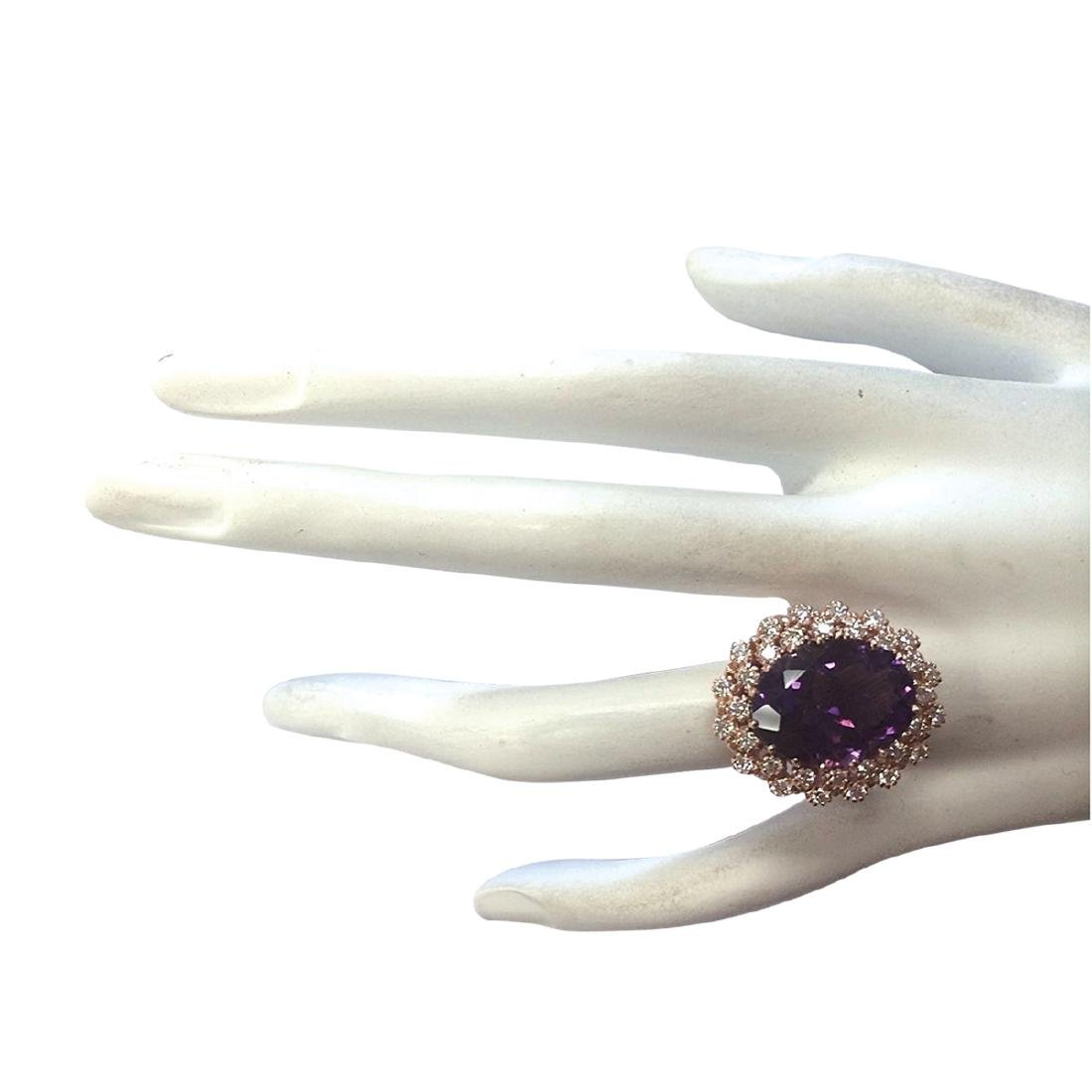9.19CTW Natural Amethyst And Diamond Ring In 18K Solid - 4