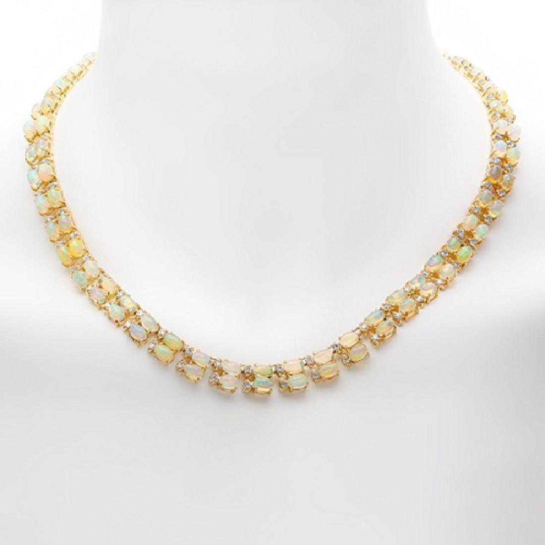 33.77 Carat Natural Opal 18K Solid Yellow Gold Diamond