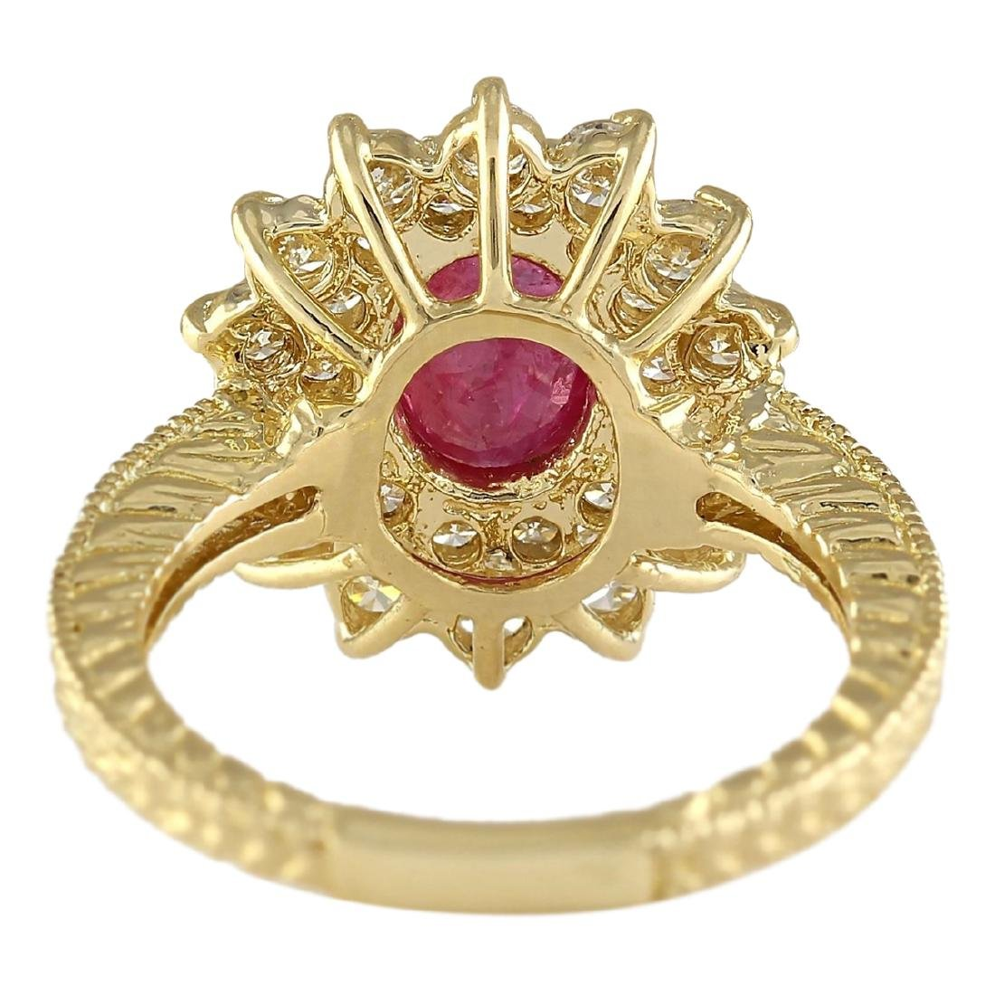 2.80 CTW Natural Ruby And Diamond Ring In 18K Yellow - 4