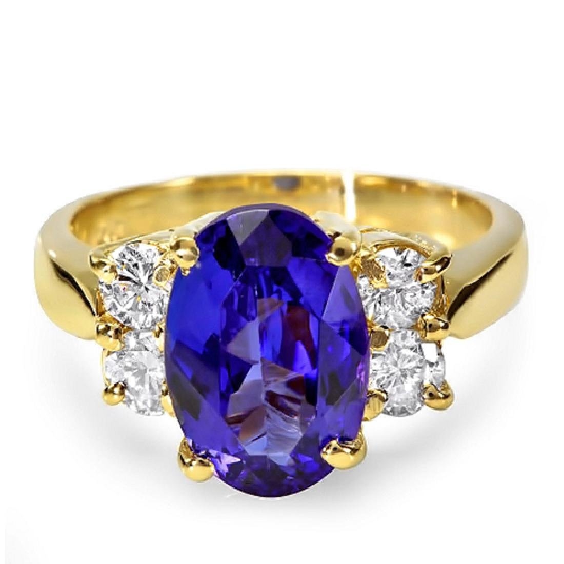 4.83 Carat Natural Tanzanite 18K Solid Yellow Gold