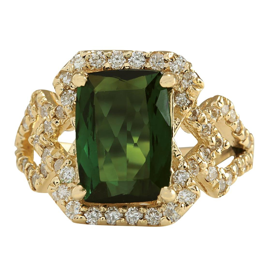3.84Ct Natural Green Tourmaline And Diamond Ring In18K