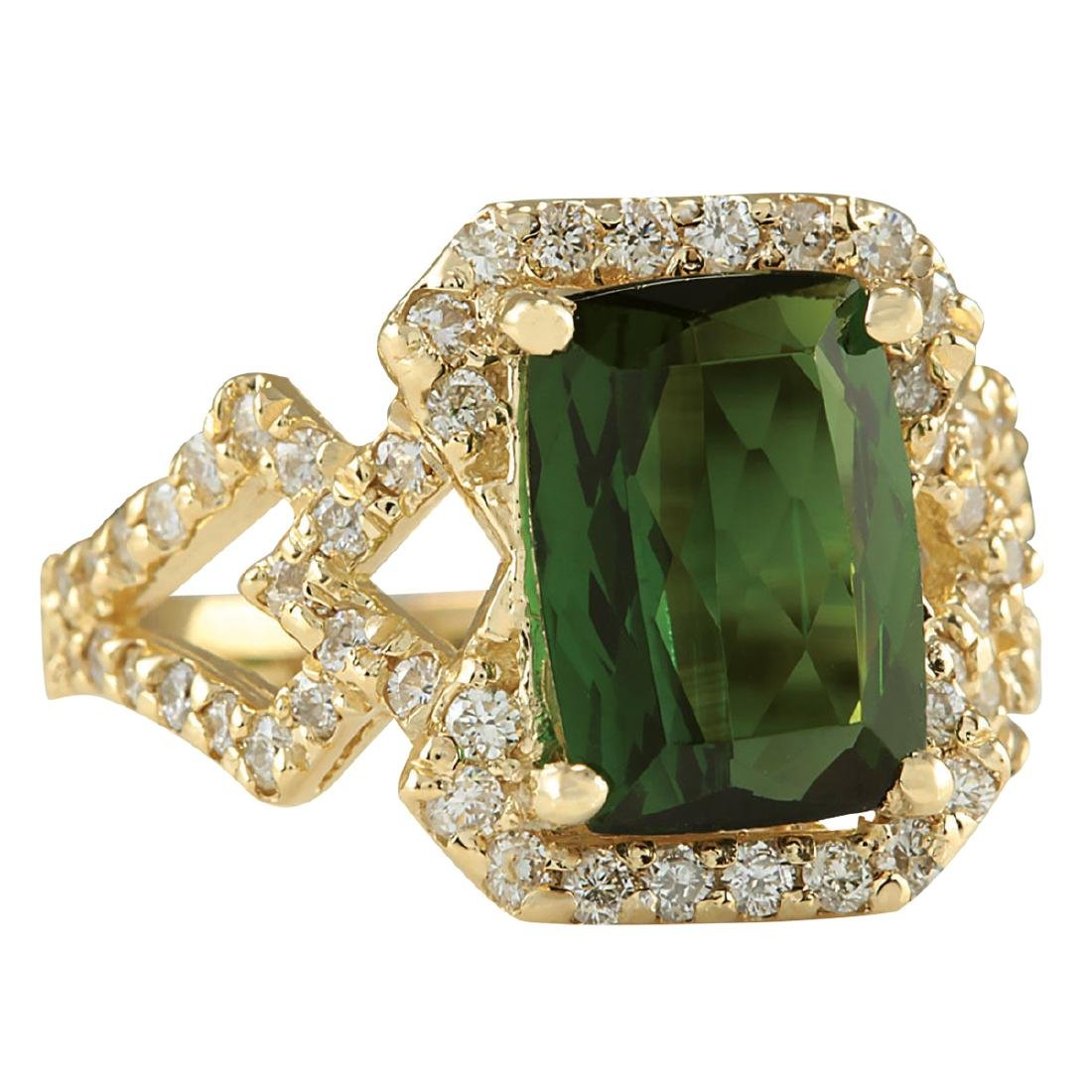 3.84Ct Natural Green Tourmaline And Diamond Ring In18K - 2