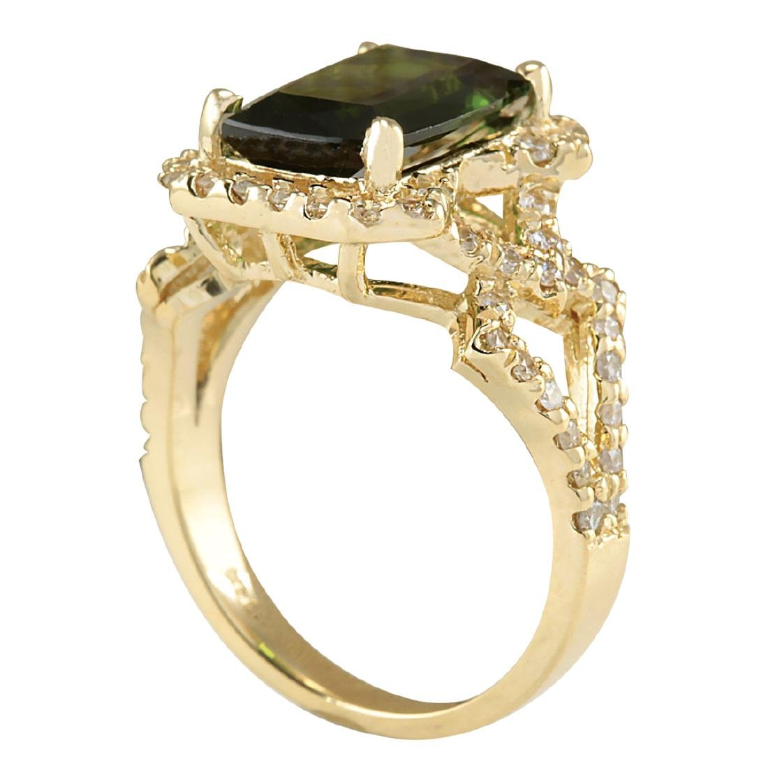 3.84Ct Natural Green Tourmaline And Diamond Ring In18K - 3