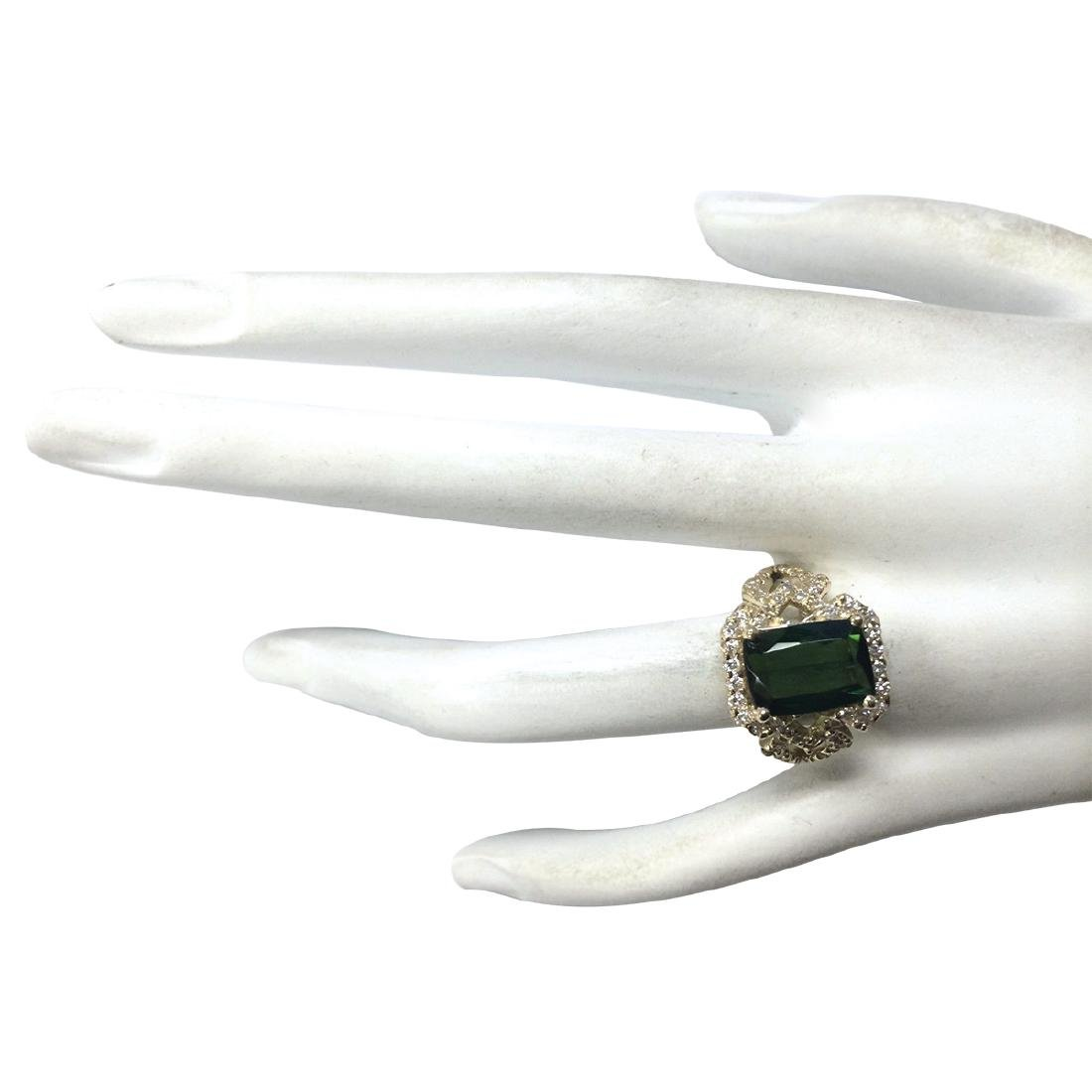 3.84Ct Natural Green Tourmaline And Diamond Ring In18K - 4