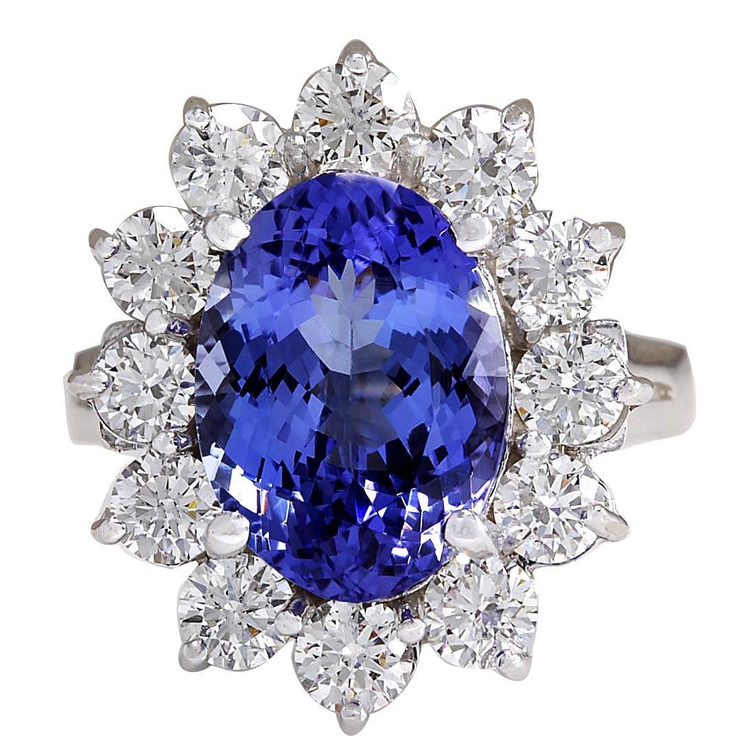 5.98CTW Natural Blue Tanzanite And Diamond Ring 18K
