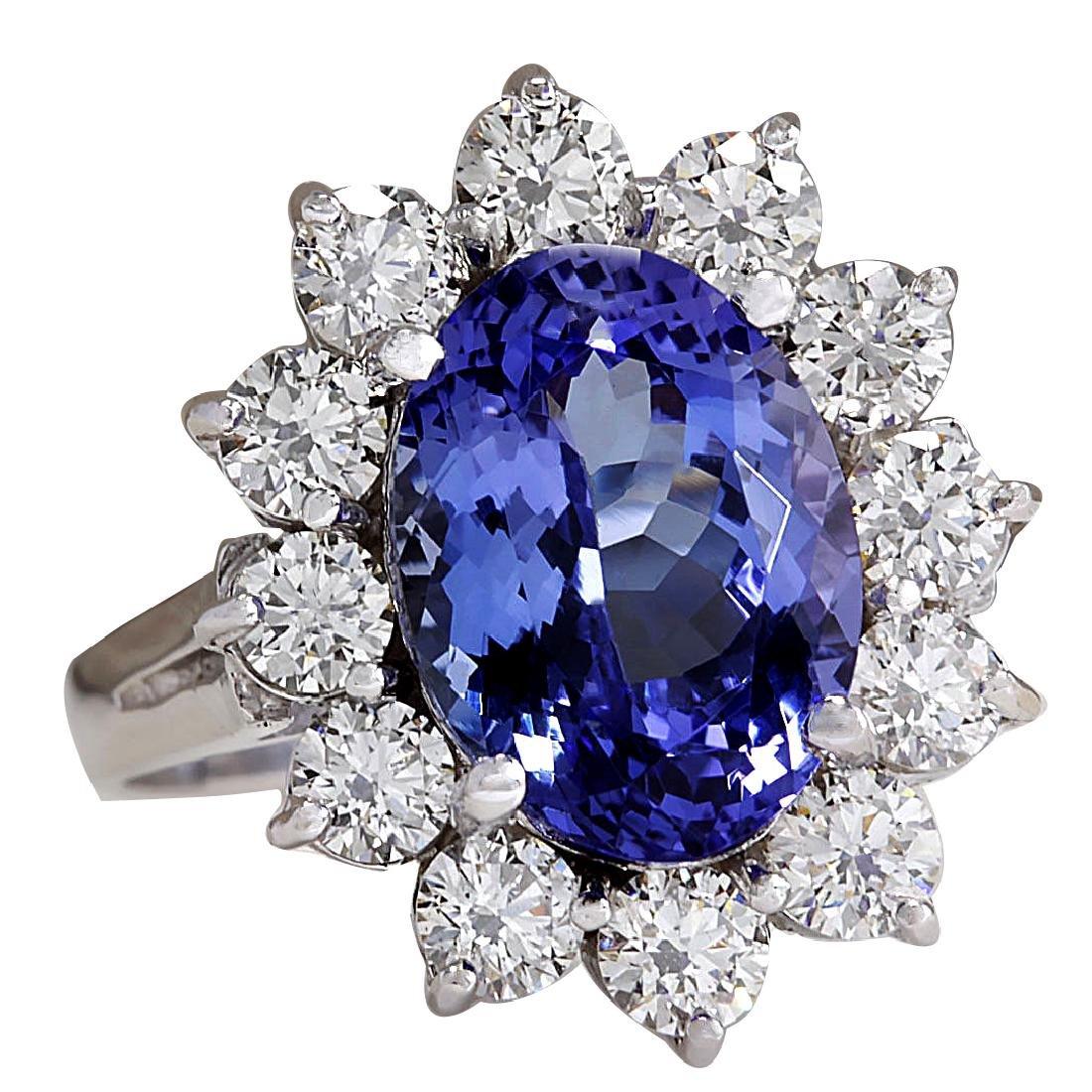 5.98CTW Natural Blue Tanzanite And Diamond Ring 18K - 2