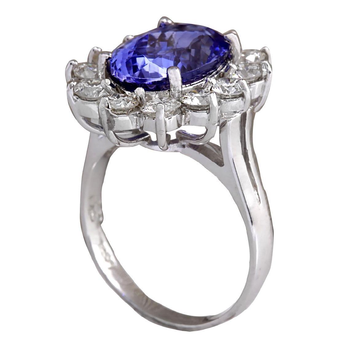 5.98CTW Natural Blue Tanzanite And Diamond Ring 18K - 3