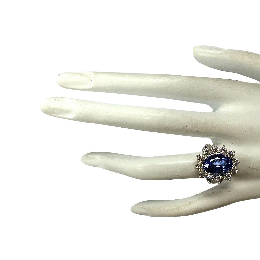 5.98CTW Natural Blue Tanzanite And Diamond Ring 18K - 4