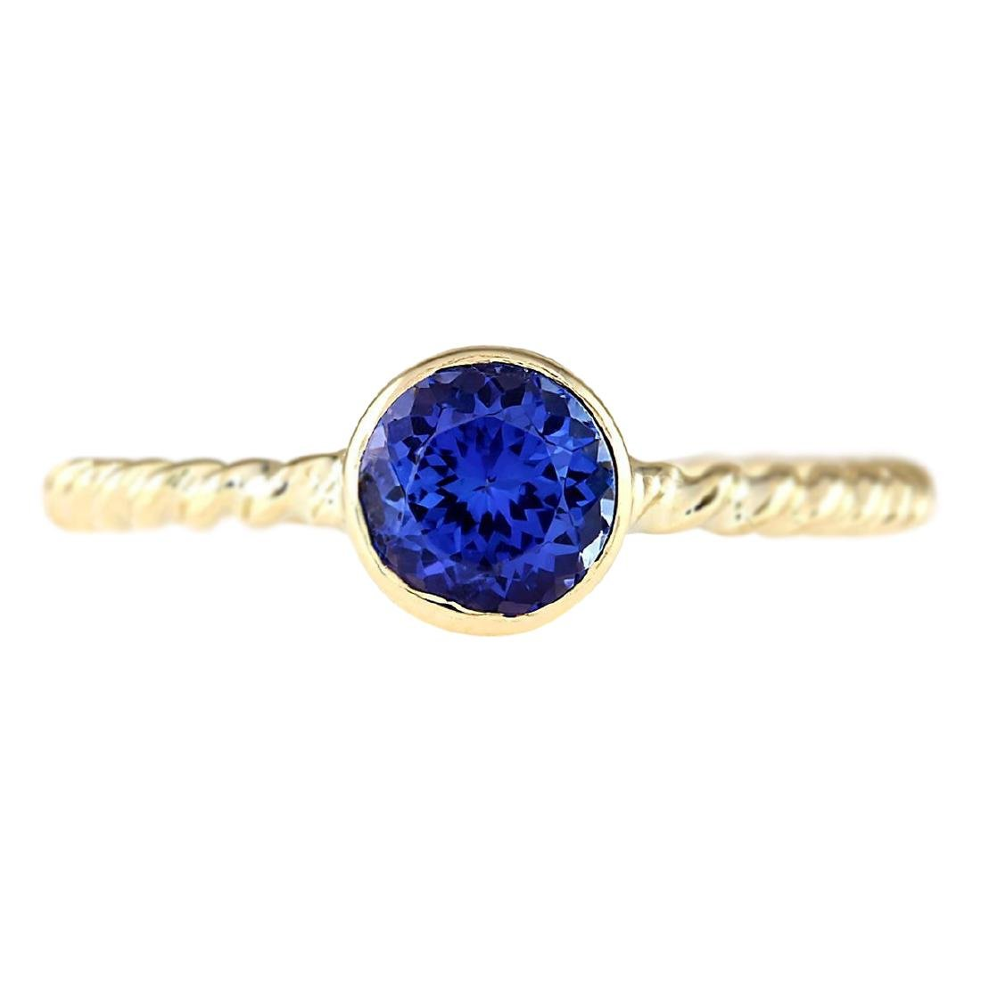 1.00 CTW Natural Tanzanite Ring In 18K Yellow Gold