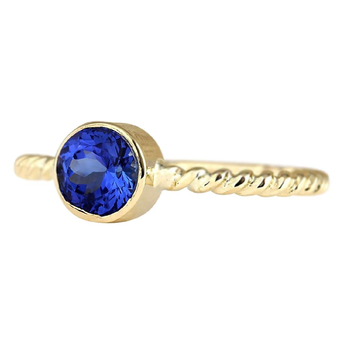 1.00 CTW Natural Tanzanite Ring In 18K Yellow Gold - 2