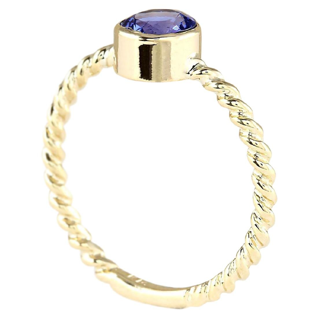 1.00 CTW Natural Tanzanite Ring In 18K Yellow Gold - 3