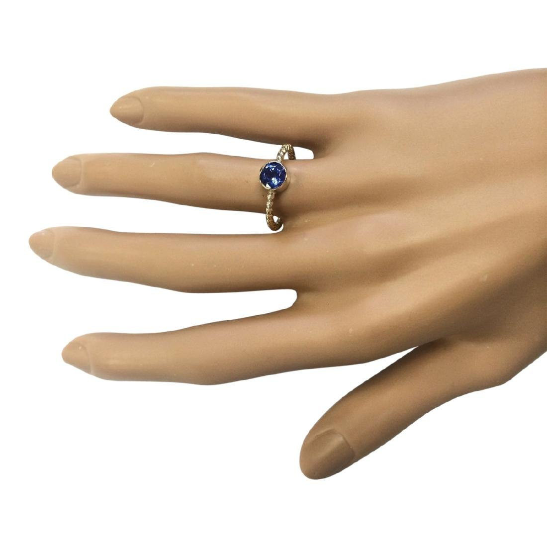 1.00 CTW Natural Tanzanite Ring In 18K Yellow Gold - 4
