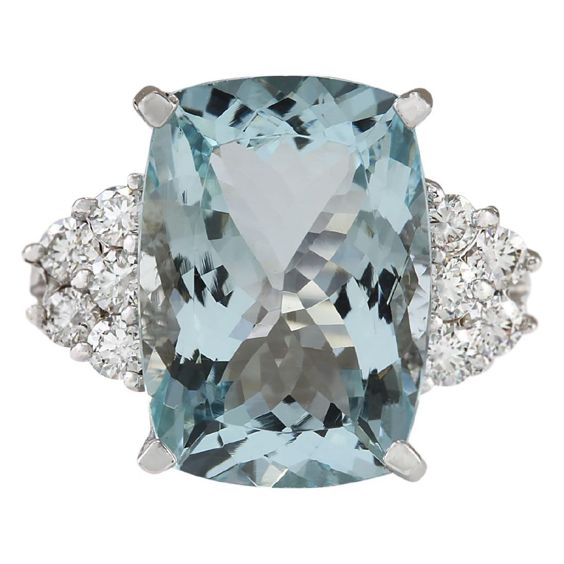 8.13 CTW Natural Aquamarine And Diamond Ring In 18K