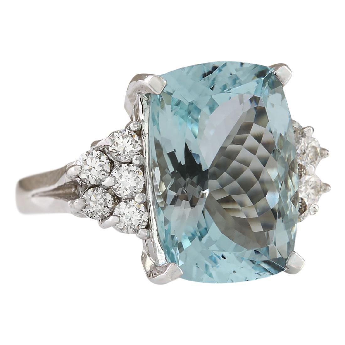 8.13 CTW Natural Aquamarine And Diamond Ring In 18K - 2