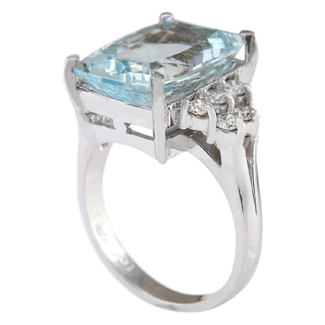 8.13 CTW Natural Aquamarine And Diamond Ring In 18K - 3