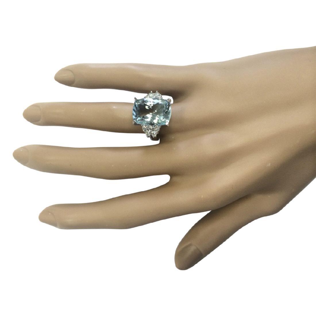8.13 CTW Natural Aquamarine And Diamond Ring In 18K - 4