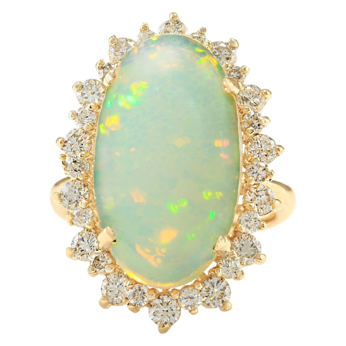 8.09 CTW Natural Opal And Diamond Ring In 18K Yellow