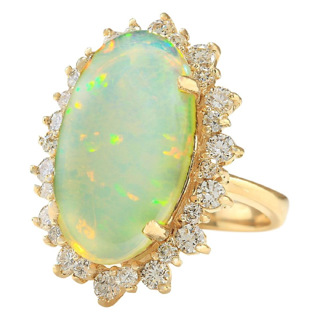 8.09 CTW Natural Opal And Diamond Ring In 18K Yellow - 2