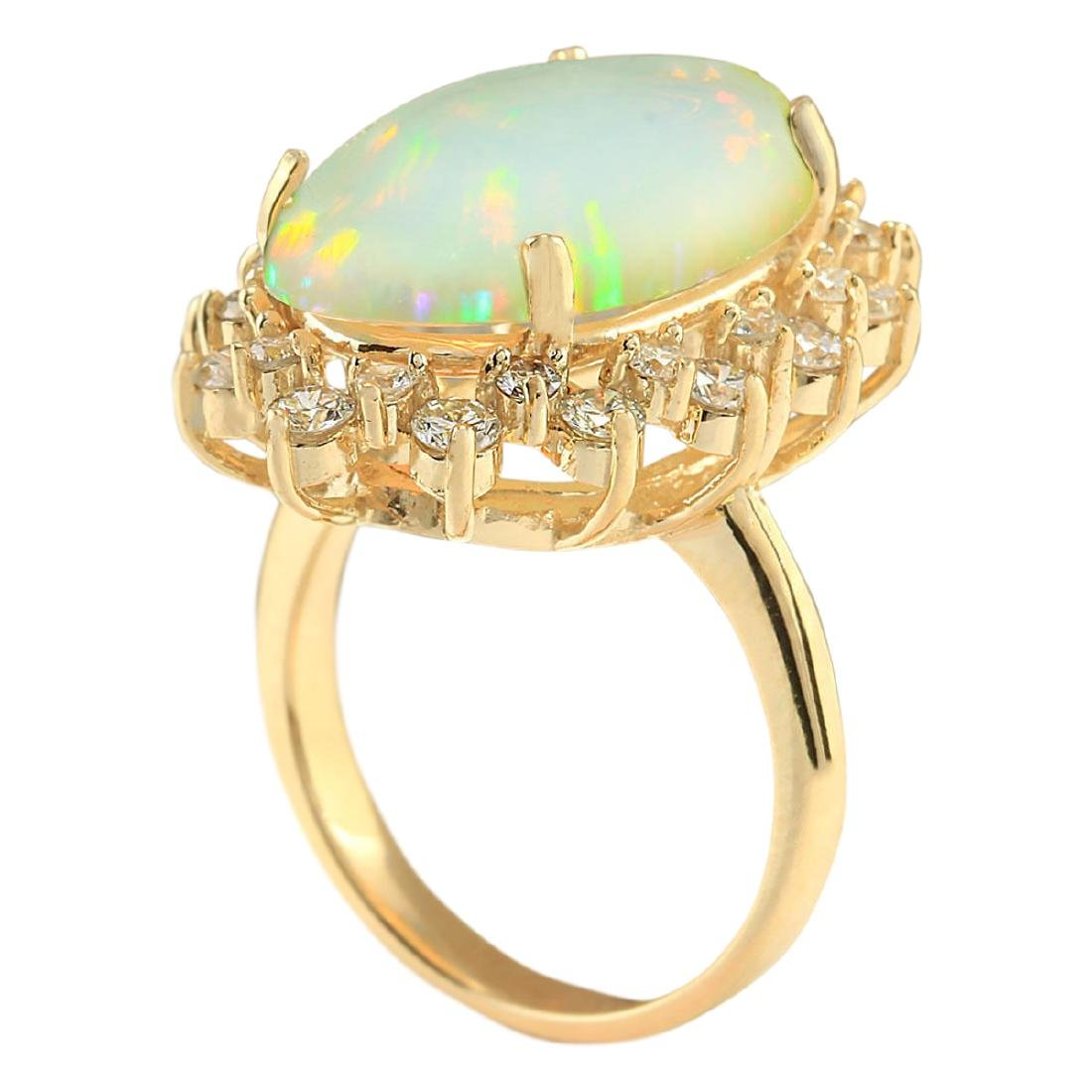8.09 CTW Natural Opal And Diamond Ring In 18K Yellow - 3