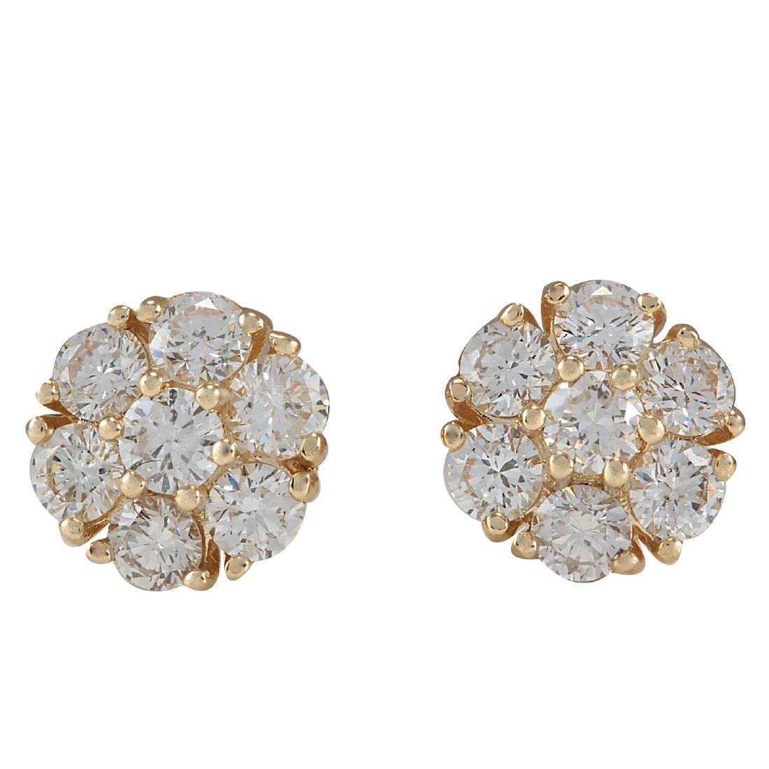 1.45CTW Natural Diamond Earrings 18K Solid Yellow Gold