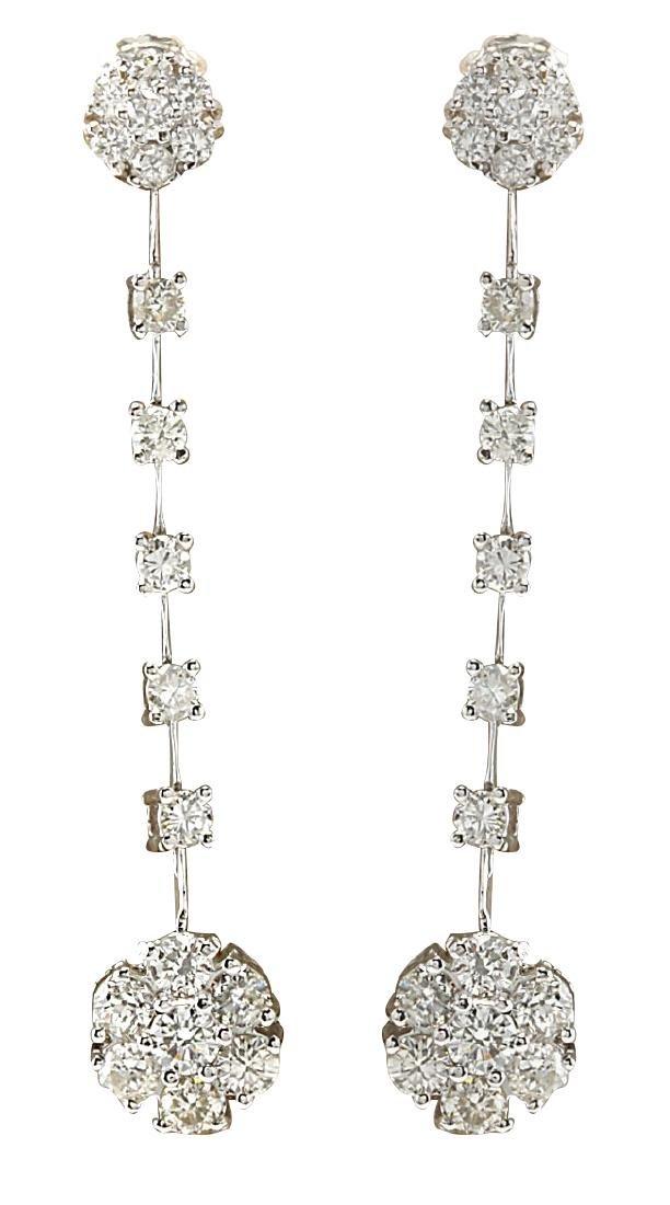 2.10CTW Natural Diamond Earrings 18K Solid White Gold