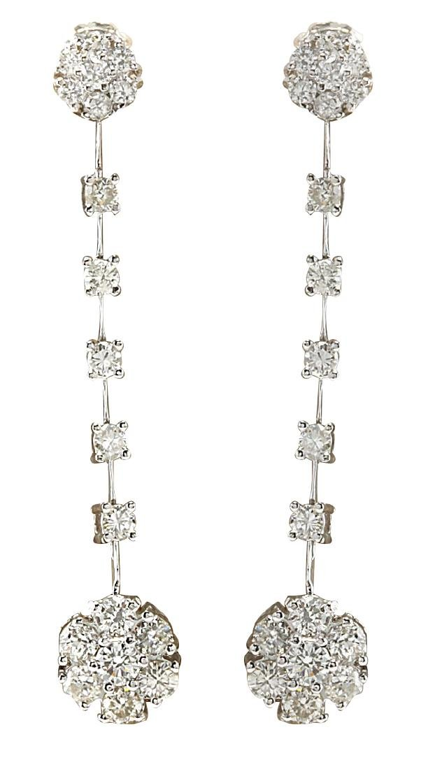 2.10CTW Natural Diamond Earrings 18K Solid White Gold