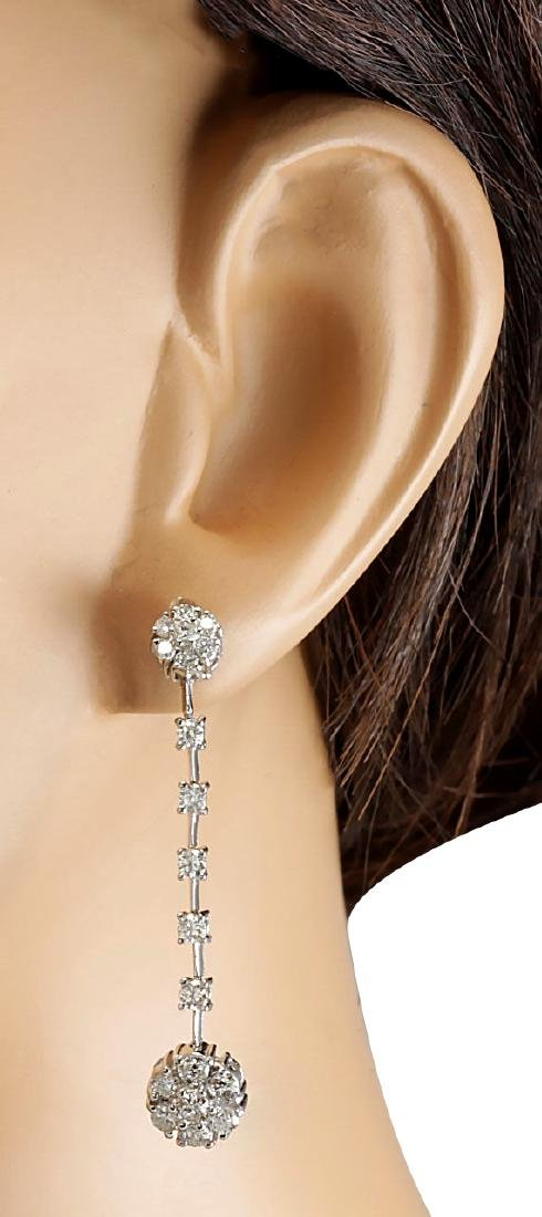2.10CTW Natural Diamond Earrings 18K Solid White Gold - 3