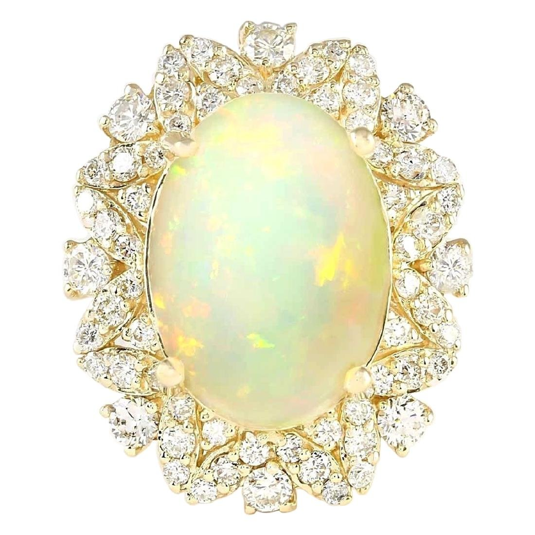7.68 CTW Natural Opal And Diamond Ring In 18K Yellow