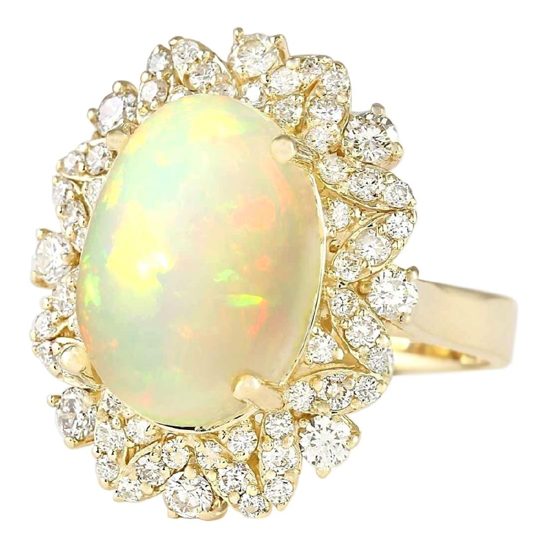 7.68 CTW Natural Opal And Diamond Ring In 18K Yellow - 2