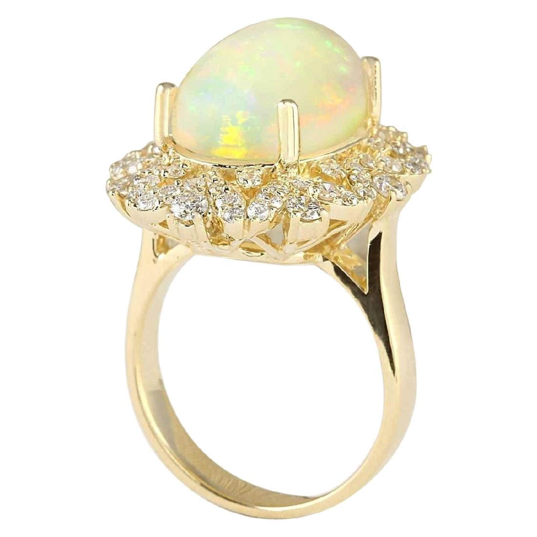 7.68 CTW Natural Opal And Diamond Ring In 18K Yellow - 3