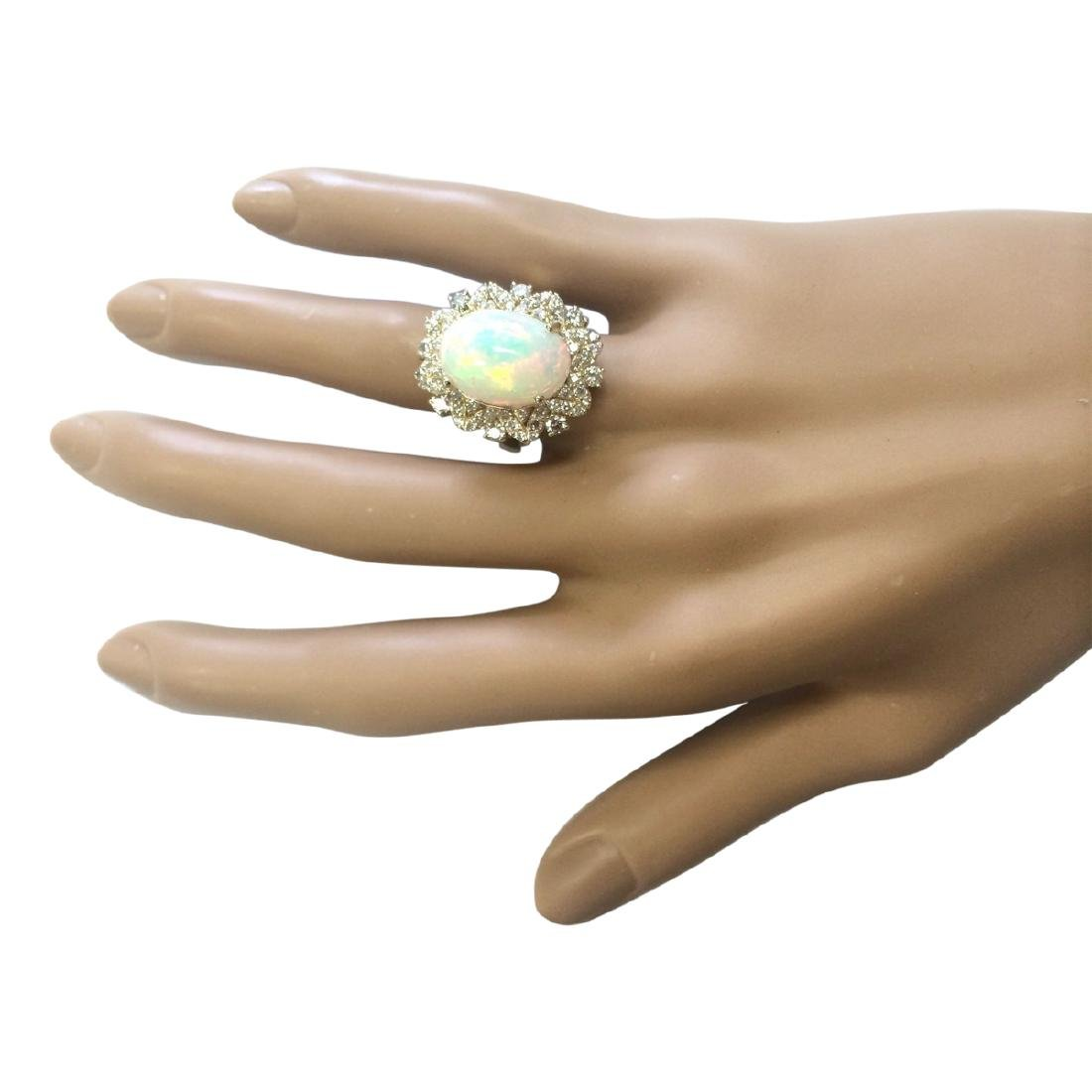 7.68 CTW Natural Opal And Diamond Ring In 18K Yellow - 4