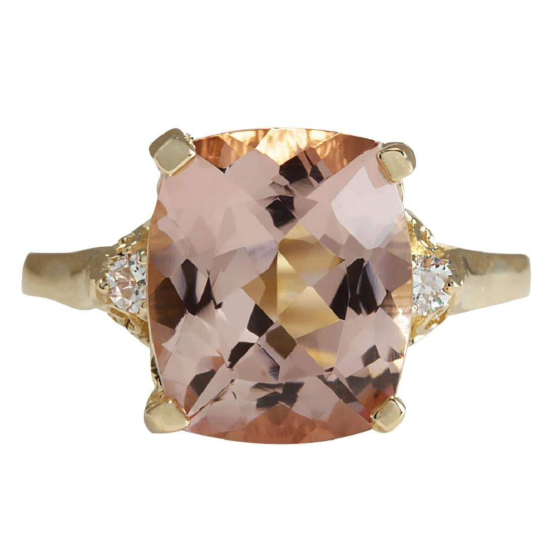 4.86CTW Natural Morganite And Diamond Ring 18K Solid