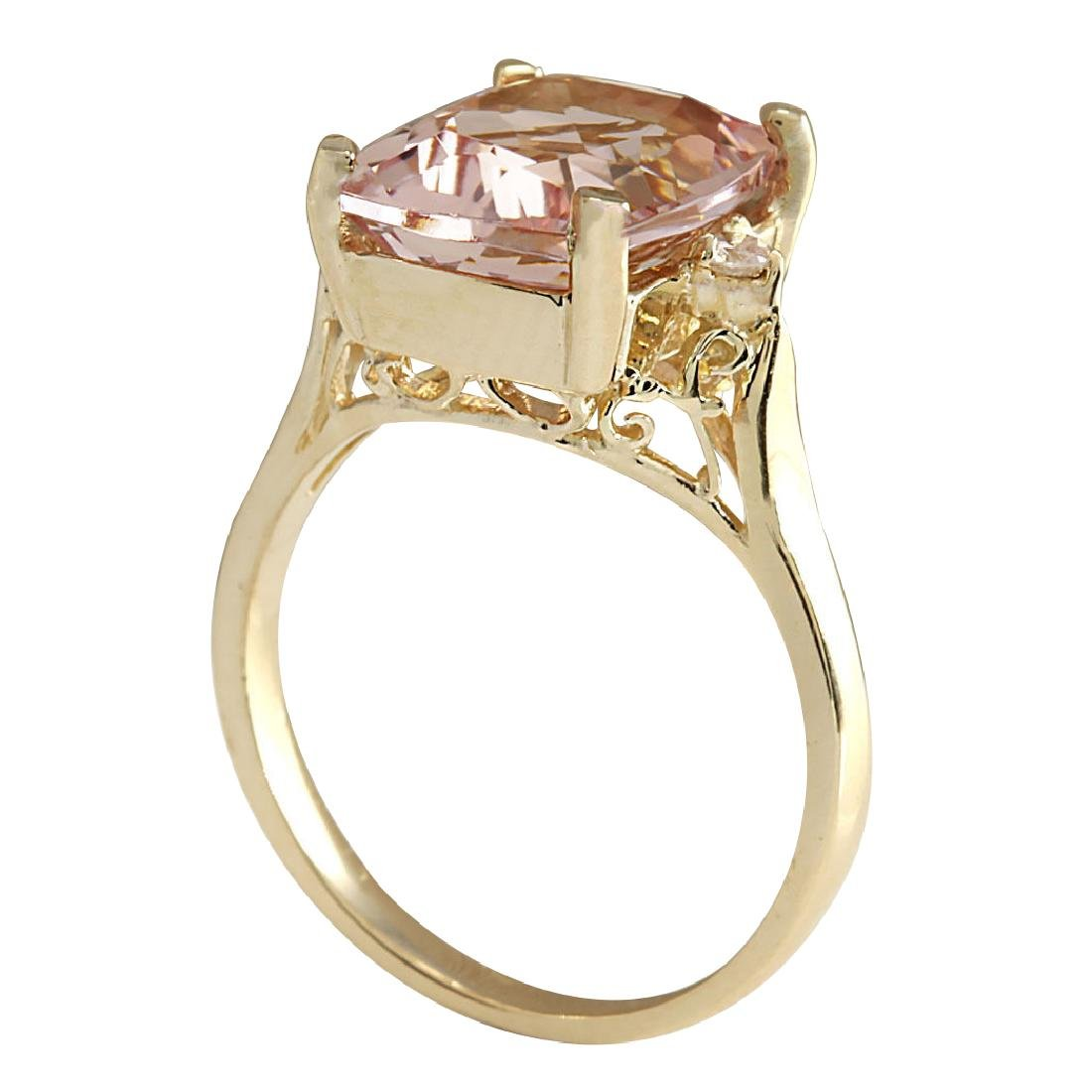 4.86CTW Natural Morganite And Diamond Ring 18K Solid - 3
