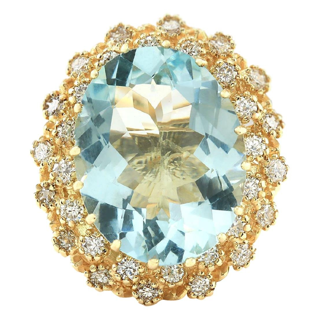 10.28 CTW Natural Aquamarine And Diamond Ring In 18K