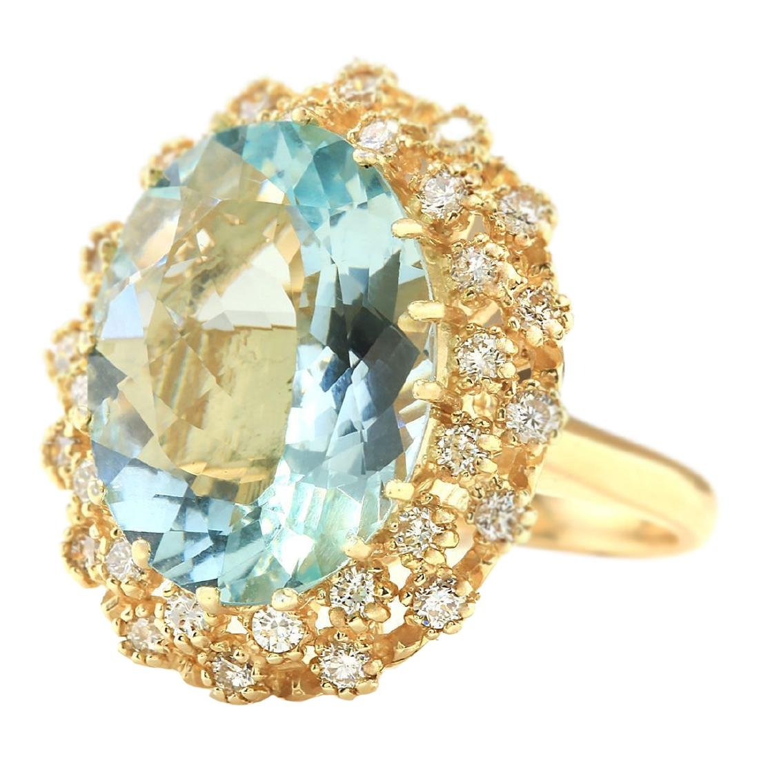 10.28 CTW Natural Aquamarine And Diamond Ring In 18K - 2