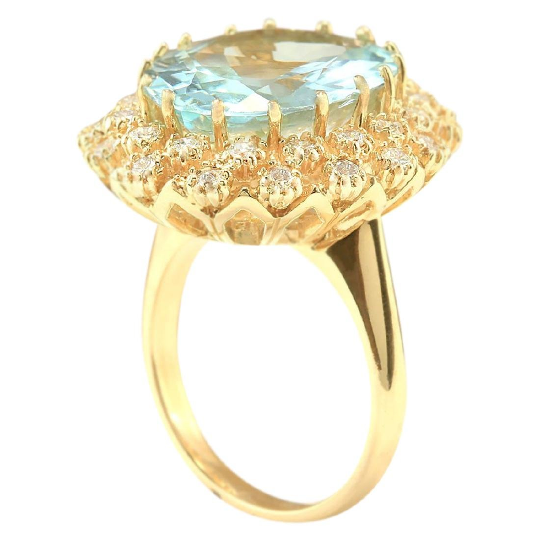 10.28 CTW Natural Aquamarine And Diamond Ring In 18K - 3