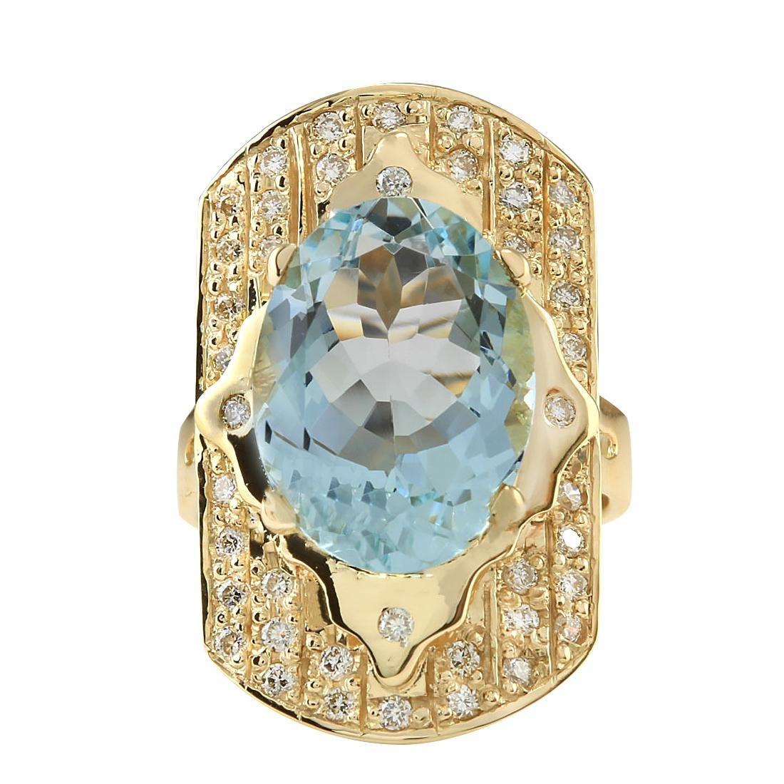 7.35CTW Natural Aquamarine And Diamond Ring In 18K