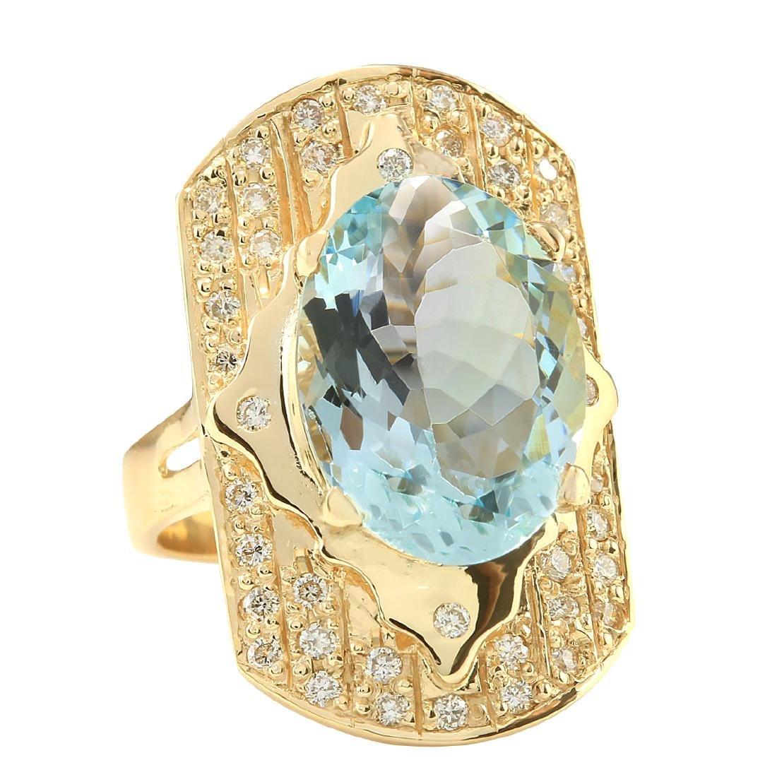 7.35CTW Natural Aquamarine And Diamond Ring In 18K - 2