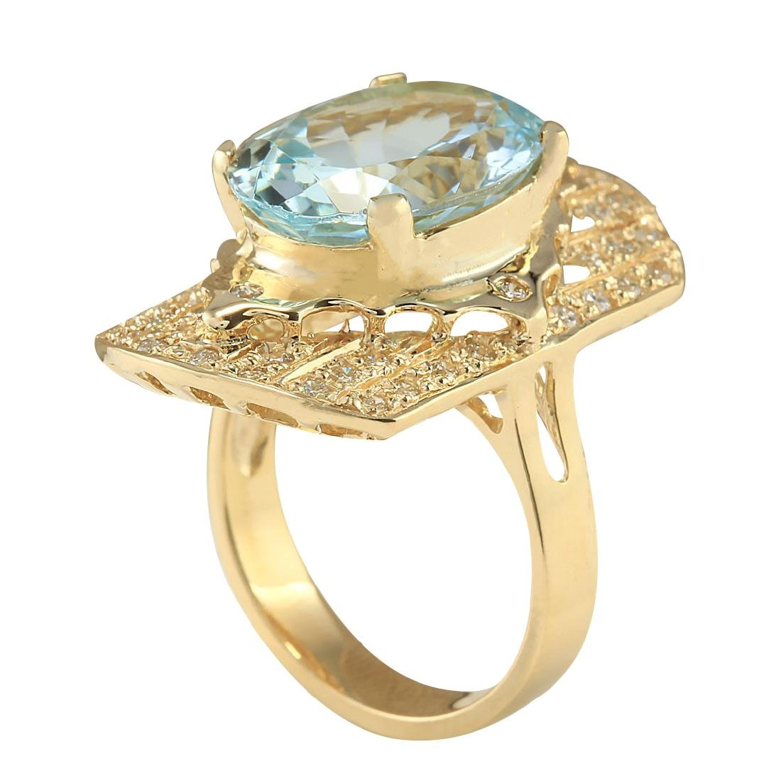 7.35CTW Natural Aquamarine And Diamond Ring In 18K - 3