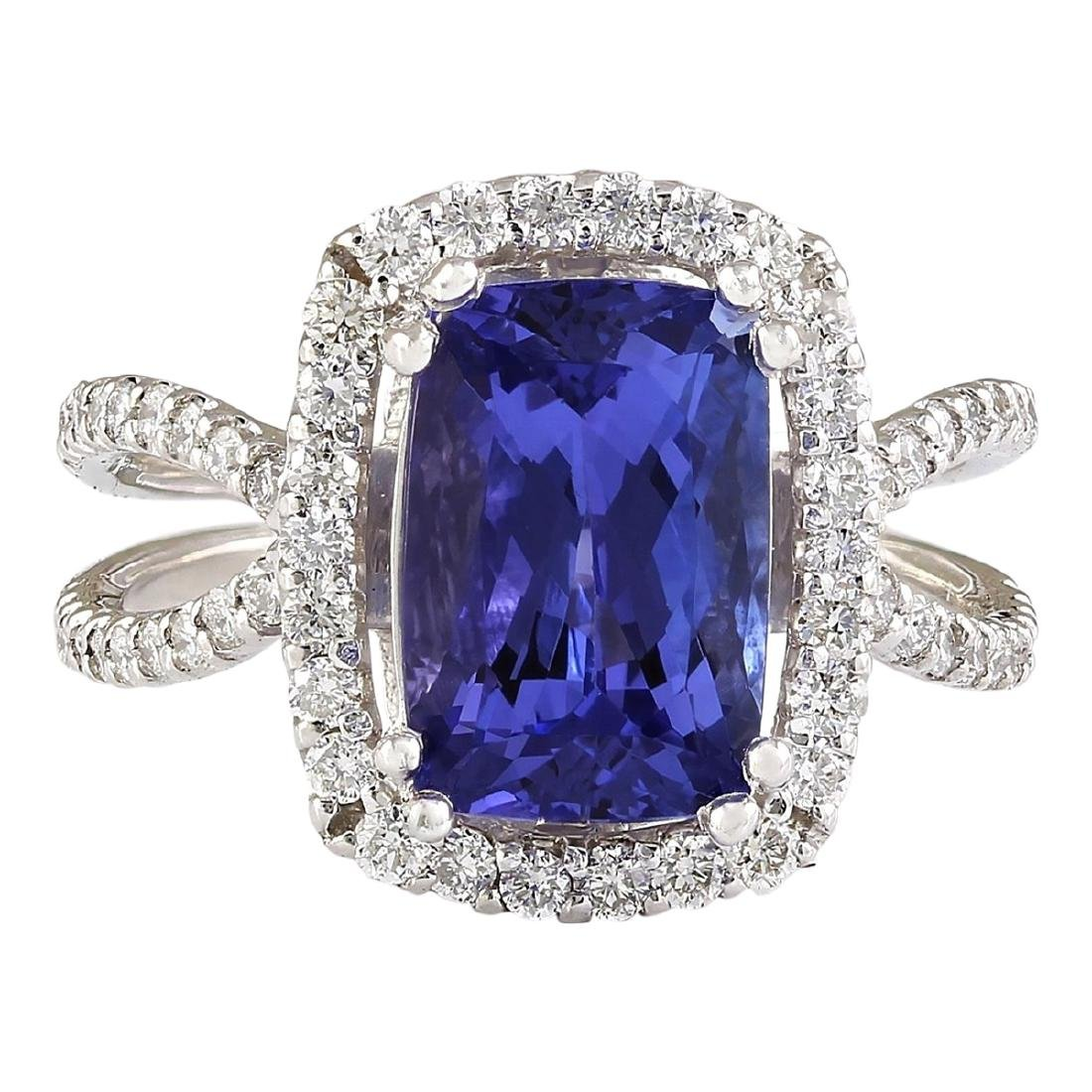 5.02 CTW Natural Blue Tanzanite And Diamond Ring In 18K