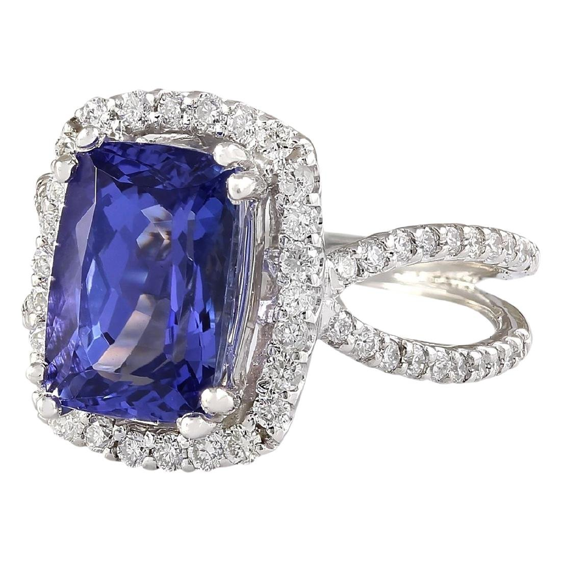 5.02 CTW Natural Blue Tanzanite And Diamond Ring In 18K - 2